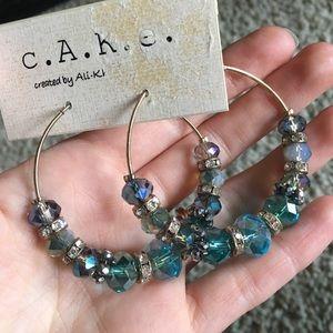 Blue Gold Crystal Bead Earrings c.A.K.e - Ali Khan